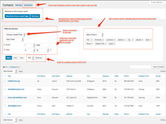 Provides advanced filtering, sorting, ability export selected records to PDF or CSV and more