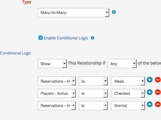 Apply multiple conditions to entity relationships in WordPress submit forms using WP App Studio