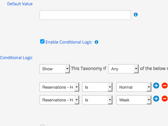 Apply multiple conditions to taxonomies in WordPress submit forms using WP App Studio