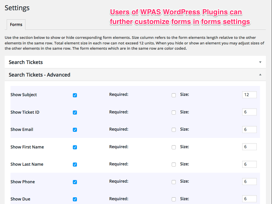 WP App Studio WordPress form layouts can be adjusted by users through settings