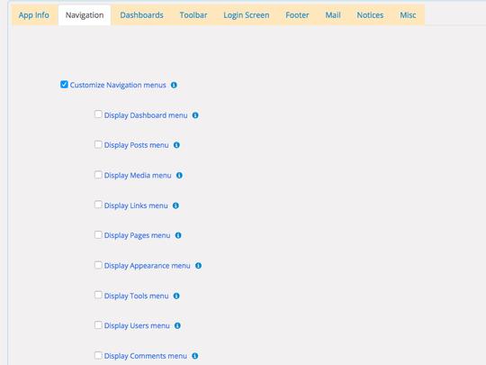 Enable or disable WordPress admin navigation menus using WP App Studio Settings